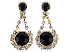 New Royal Golden Metal Black Beaded Clear Rhines Earrings Fashion Drops Dangle