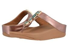 Women's Shoes FitFlop FINO SHELLSTONE T-Strap Wedge Sandals R02-323 ROSE GOLD