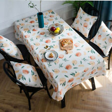 Waterproof Tablecloth Peach Print Table Cloth Cover Rectangle Dining Home Decor
