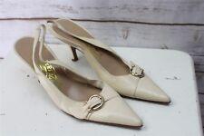 Ferragamo 7 3A Cream Slingback Heels Women's Shoes