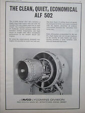1/1973 PUB AVCO LYCOMING ALF 502 TURBOFAN ENGINE MOTEUR AVIATION ORIGINAL AD