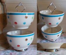 2 TIER TRINKET CAKE STAND DISPLAY BLUE TOP MULTI SPOTS