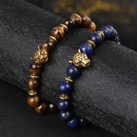 Charm Men's Lava Tiger Eye Gold Leopard Head Beaded Yogo Stretch Bracelets
