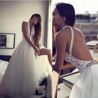 Vintage Lace Beach Boho Wedding Dress 2019 Halter Beaded Backless Bridal Gowns