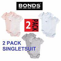BONDS BABY 2 PACK SHORT SLEEVE BODYSUIT COTTON WHITE BLUE PINK 0000 000 00 0 1 2