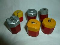 6 Vintage Colorful 1-1/2 Inch Wood B & R & B & M Bobber Co. MN Bobbers Lot 9-333