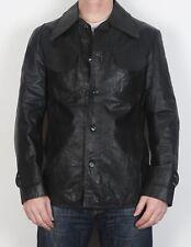 "Leather Jacket UK 36"" XS 1970's Fitted Black 70's Vintage  (5DJ)"