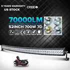 "7D CREE 52INCH 700W Curved LED Light Bar Spot Flood Offroad 4WD VAN ATV BOAT 54"""