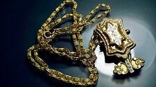 beautiful Victorian Enamel gold filled Jewelry chain/fob Pendant/ necklace