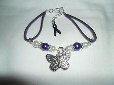 Fibromyalgia Fibro awareness bracelet with butterfly focal piece