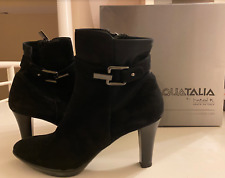 """Black leather and Reece suede boots by Aquatalia Boots, Sz 8.5, 3.5"""" pump heel"""