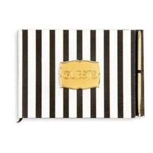 David Tutera Black White Gold Striped Satin Cover Wedding Guest Book & Pen NEW