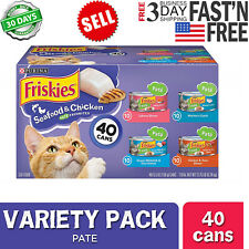Purina Friskies Canned Wet Cat Food 40 ct Seafood & Chicken Pate 5.5 Oz NEW