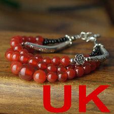 Three layered Red Agate Beads Tibetan Silver Buddhist Prayer Mala Bracelet Band