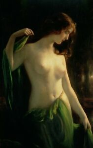 Art Oil painting naked young girl in green dress in night landscape Hand painted
