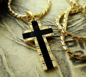P24G High Quality Mens Gold Plated Crystal Cross Pendant w Chain Necklace Hiphop