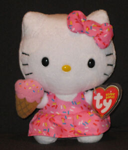 TY HELLO KITTY ICE CREAM BEANIE BABY - MINT with MINT TAGS