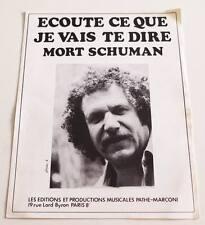 Partition sheet music MORT SHUMAN : Ecoute ce que je Vais te Dire * 70's
