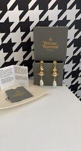 New In Box Vivienne westwood Gold 3d Pearl Orb Droplet earrings
