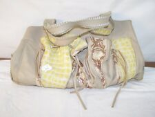Chi Beige Yellow Leather Shoulder Bag Purse Magnetic Closure