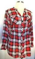 Torrid 3X Plus Size Holiday Red Tartain Plaid Babydoll Long Sleeve Tunic Top