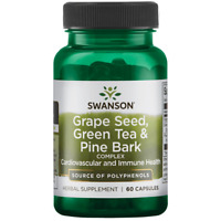 Swanson Grape Seed, Green Tea & Pine Bark Complex Capsules, 60 Ct