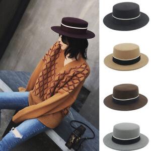 Women Fashion Wool Wide Brim Flat Top Boater Hat Lady Fedora Felt Pork Pie Cap