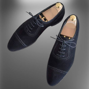 Handmade Mens Black Suede shoes, Mens black Oxfords dress shoes, English shoes