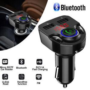 FM Transmitter Auto Bluetooth 5.0 KFZ Radio Adapter QC3.0 Dual USB Ladegerät