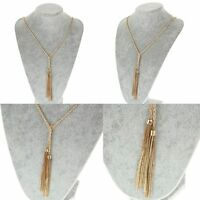 Gold Tassel Fashion Jewelry Pebble Necklace Long Chain Long Design Necklaces
