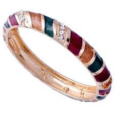 Chram Womens Wide Mrist Multicolor Enamel Cuff CZ Bangle Bracelet Free Shipping