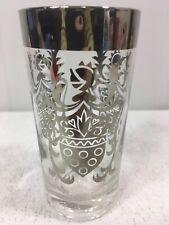 Vintage Mid Century Kimiko Silver Knight Shield Highball Tumbler Glass Barware