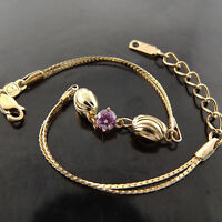 BRACELET CUFF BANGLE REAL 18K YELLOW G/F GOLD ANTIQUE PINK SAPPHIRE BEAD DESIGN