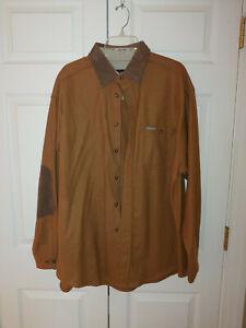 Men Woolrich Brown Flannel Wool Elbow Patch Button Down Shirt Size XL