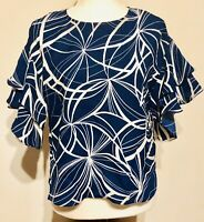 Vince Camuto Womens XS Blue And White Layered Ruffled Sleeves Top