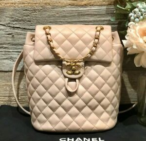 AUTH CHANEL LAMBSKIN QUILTED SMALL URBAN SPIRIT BACKPACK LIGHT PINK GOLD HW