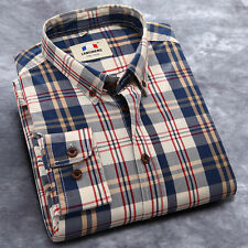 Stylish Men's Casual Plaid Shirt Slim Fit Long Sleeve Dress Shirt Tops Blouse