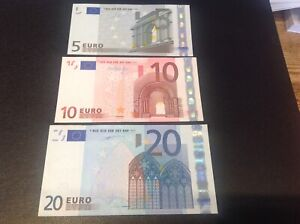 Original 20,10 & 5 Euro Banknotes dated 2002