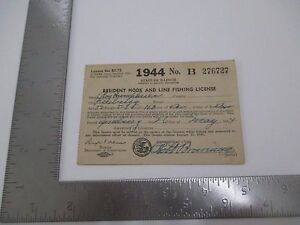 Vintage 1944 Illinois Resident Hook & Line Fishing License Roy Humphries S2592