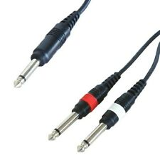 1.2m 6.35mm Mono Jack Separador Cable 1A 2x Plug Amplificador de guitarra 6.3mm