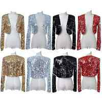 Women Sequin Jackets Cocktail 1920s Flapper Top Gatsby Costume Evening Disco 30s