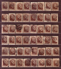 "1887 Newfoundland Canada ""Queen Victoria"" 3 ¢ Deep Brown USED 48 Stamps Fine!!"