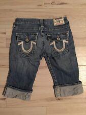 True Religion Size 25 Women's Knee Length Jeans Denim Cuffed Shorts