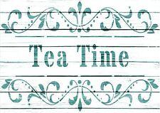 A5 Stencil,TEA TIME, French, Wedding, ShabbyChic,fabric, furniture