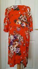 Beautiful H&M Orange floral Shift Dress 38 UK 10 Summer