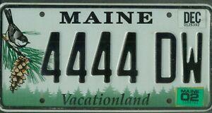 "MAINE passenger 2002 license plate ***QUADRUPLE ""4444""***"