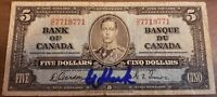 1937 CANADA $5 Bank of Canada RADAR Note Gordon/Towers DC Signed by Eddie Shack