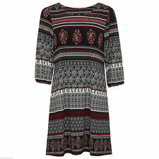 Thigh-Length Paisley 3/4 Sleeve Tunic Dresses for Women