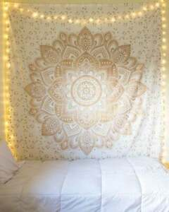 Tapestry Indian Ombre Hippie Gold White Printed Mandla Twin Bedding Wall Hanging