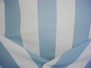 3-1/2Y SCHUMACHER 71324 ANDY STRIPE SKY BLUE SOFT WHITE COTTON UPHOLSTERY FABRIC